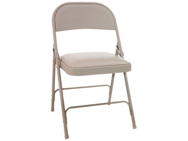 Peachy Steel Folding Chair W Padded Seat Tan 4 Carton Newegg Com Theyellowbook Wood Chair Design Ideas Theyellowbookinfo