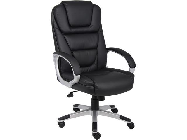 Boss Office Products Boss Black Upholstered With LeatherPlus Executive Chair  B8601