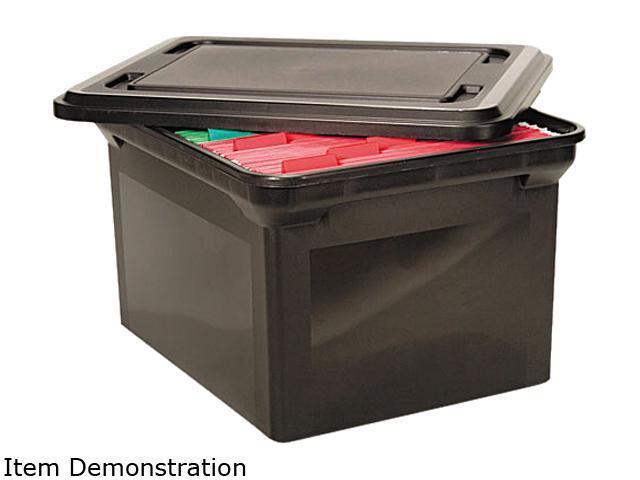 Advantus File Tote Storage Box w/Lid Legal/Letter Plastic Black 34052 -  Newegg com