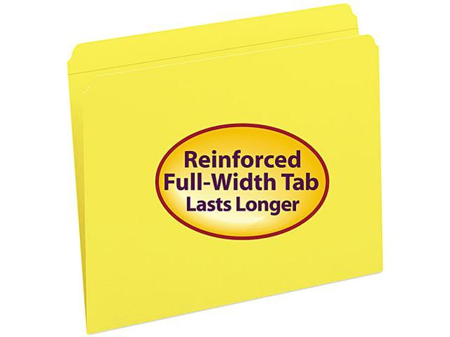 Smead 12910 File Folders, Straight Cut, Reinforced Top Tab, Letter, Yellow, 100/Box