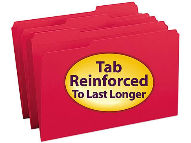 Smead 17734 File Folders, 1/3 Cut, Reinforced Top tab, Legal, Red, 100/Box  - Newegg com