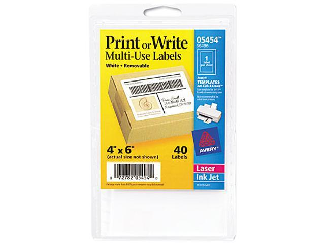 avery 05454 print or write removable multi use labels 4 x 6 white