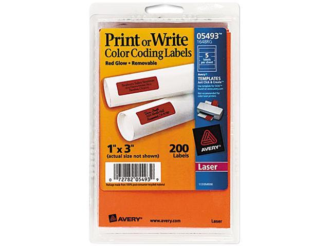 Avery 05493 Print Or Write Removable Color Coding Laser Labels 1 X 3