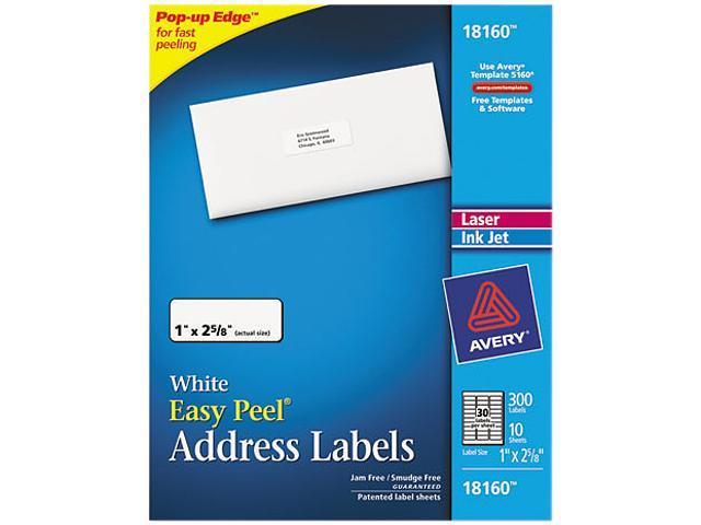 avery 18160 inkjet address labels 1 x 2 5 8 white 300 pack