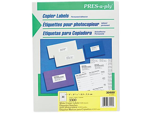 avery 30400 pres a ply copier labels 1 x 2 3 4 white 3300 box