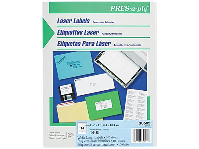 avery 30602 pres a ply laser address labels 1 1 3 x 4 white 1400