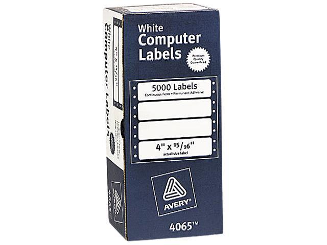 Avery 4065 Dot Matrix Printer Address Labels, 1 Across, 15/16 x 4, White,  5000/Box - Newegg com