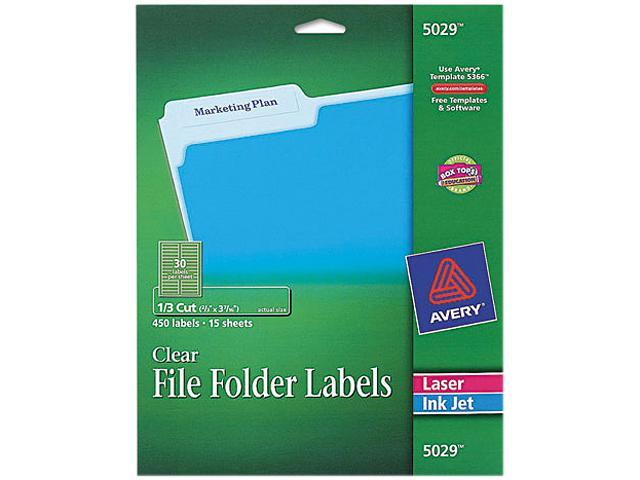 Avery 5029 Self Adhesive Filing Labels 13 Cut 23 X 3 716 Clear