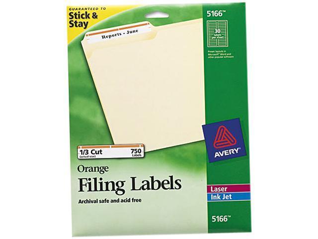 Avery Permanent File Folder Labels TrueBlock Inkjet/Laser Orange Border  750/Pack - Newegg com