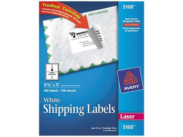 Avery 5168 Shipping Labels With Trueblock Technology 3 12 X 5