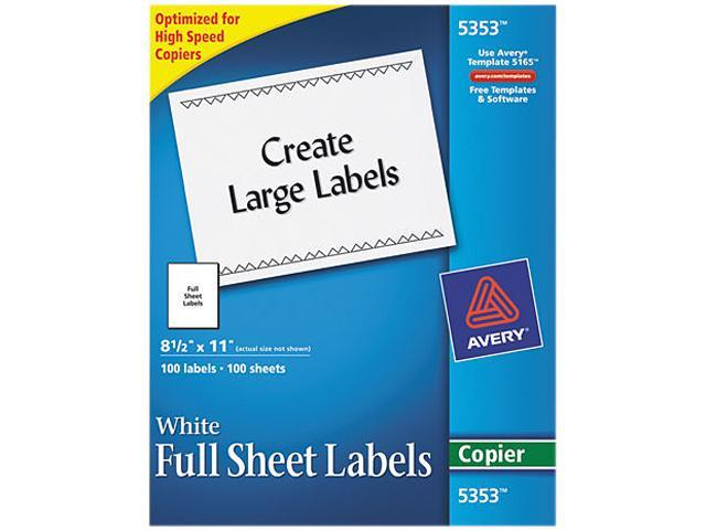 avery 5353 self adhesive full sheet shipping labels for copiers 8 1