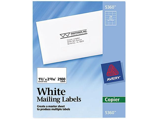 avery 5360 self adhesive address labels for copiers 1 1 2 x 2 13 16