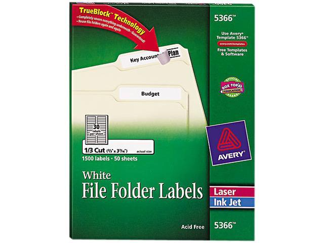 avery 5366 permanent self-adhesive laser  inkjet file folder labels  white  1500  box