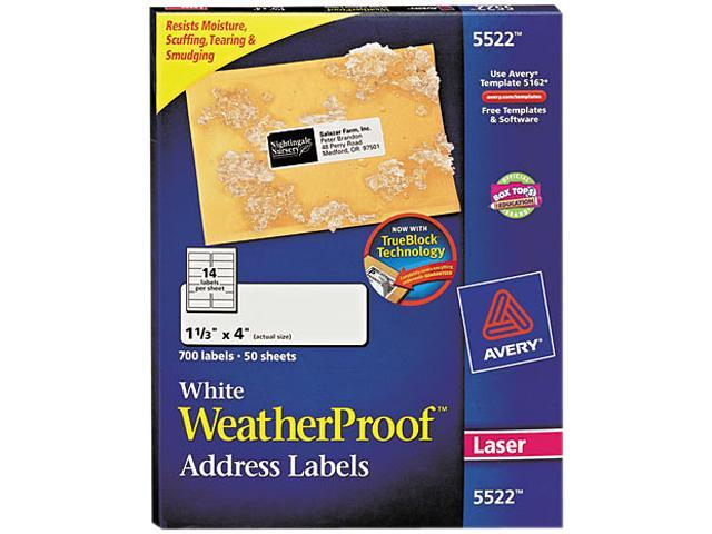 Avery 5522 White Weatherproof Laser Shipping Labels 1 13 X 4 700