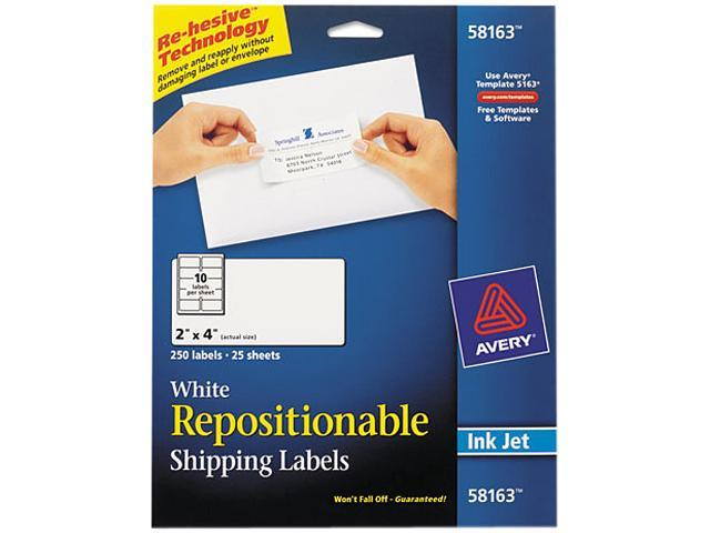 Avery repositionable mailing labels; ave 58163 rrofficesolutions. Com.