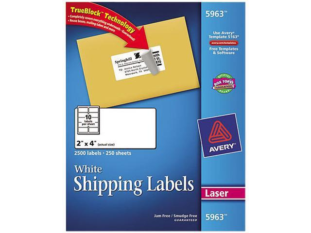 avery 5963 shipping labels with trueblock technology 2 x 4 white