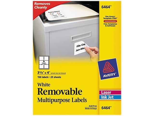 avery 6464 removable inkjet laser id labels 3 1 3 x 4 white 150