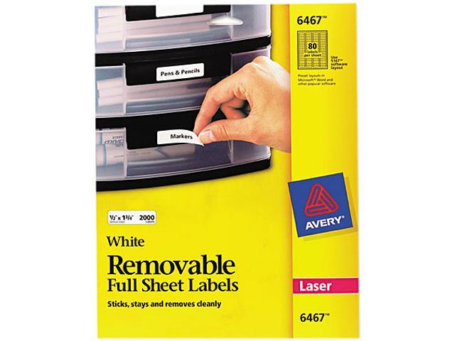 avery 6467 removable inkjet laser id labels 1 2 x 1 3 4 white