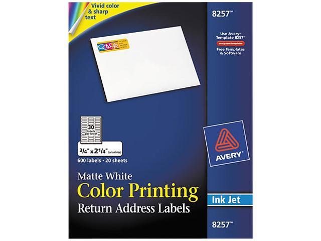 Color Inkjet Labelsmatterectangle34x2 14600pkwe Ave8257