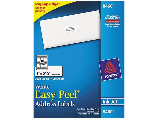 avery 8460 easy peel inkjet address labels 1 x 2 5 8 white 3000