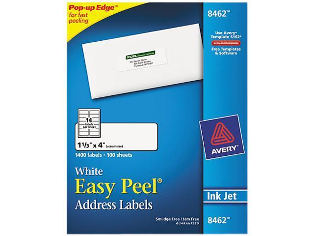 avery 8462 easy peel inkjet address labels 1 1 3 x 4 white 1400