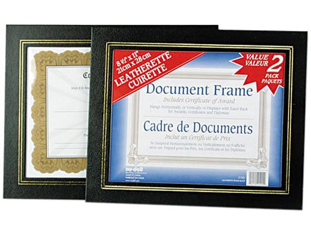 Nu Dell 21202 Leatherette Document Frame 8 12 X 11 Black Pack Of