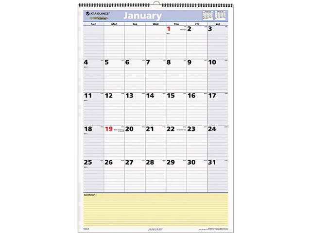 At A Glance Calendar.At A Glance Pm54 28 Quicknotes Recycled Wall Calendar 15 1 2 X 22 3 4 Newegg Com
