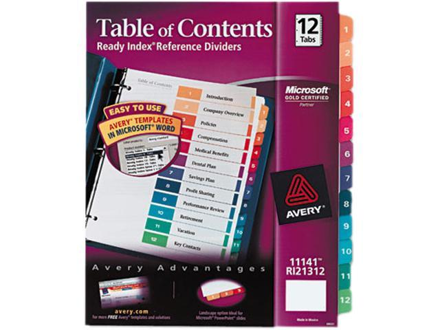Ready Index Customizable Table Of Contents Multicolor Dividers 12