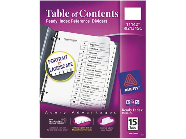 Avery 11142 Ready Index Classic Tab Titles 15 Tab 1 15 Letter