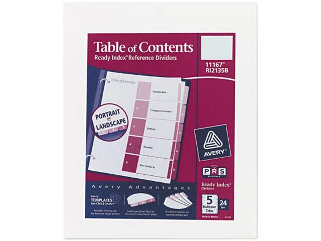 Avery 11167 Ready Index Tablecontents Dividers 5 Tab Letter