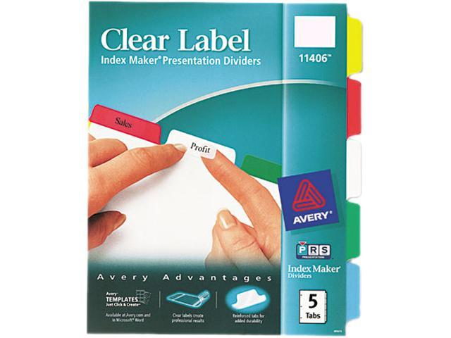 Avery Index Maker Print & Apply Clear Label Dividers w/Color Tabs 5-Tab  Letter - Newegg com