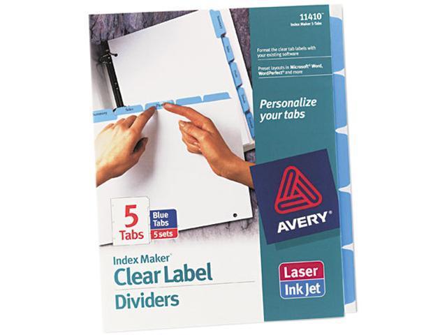 avery 11410 index maker divider w color tabs blue 5 tab letter 5