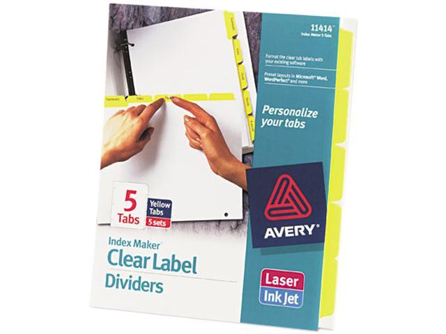 3-Tab LTR Avery 11430 Print /& Apply Clear Label Unpunched Dividers 5 Sets