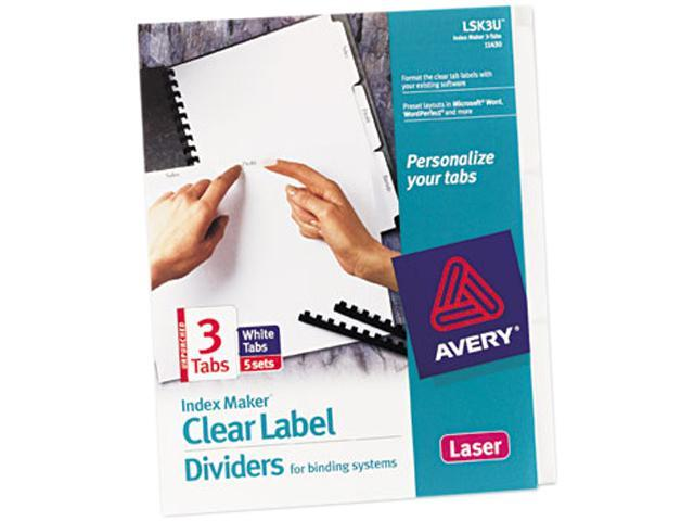 11417 Avery Index Maker Clear Label Dividers for Laser and Inkjet Printers 8 Tabs White 1 Set,