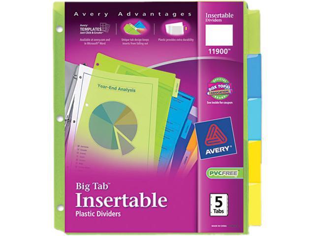 Avery Insertable Big Tab Plastic Dividers 5-Tab Letter 11900 - Newegg ca
