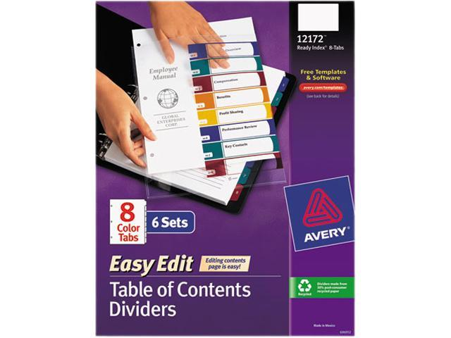 Avery 12172 Ready Index Customizable Table Of Contents Asst
