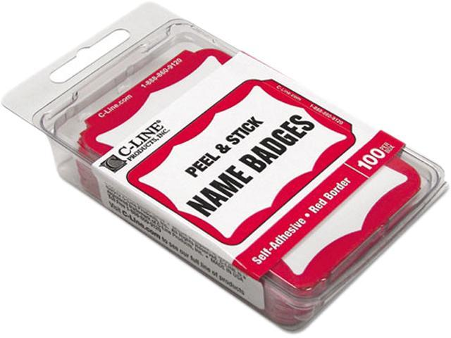 C-Line Products- Inc  CLI92264 Name Badge- 3- 50in x2- 25in - Red Border -  Newegg com