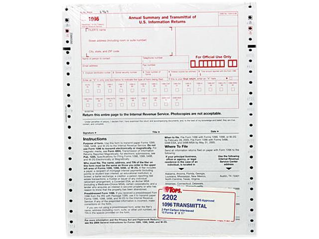 Tops 2202 1096 Irs Approved Tax Forms 8 X 11 2 Part Carbon 10