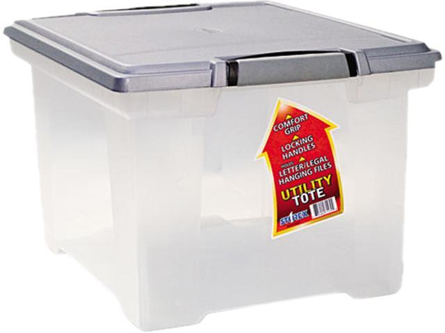 Storex 61530U01C Portable File Tote w/Locking Handle Storage Box,  Letter/Legal, Clear - Newegg com