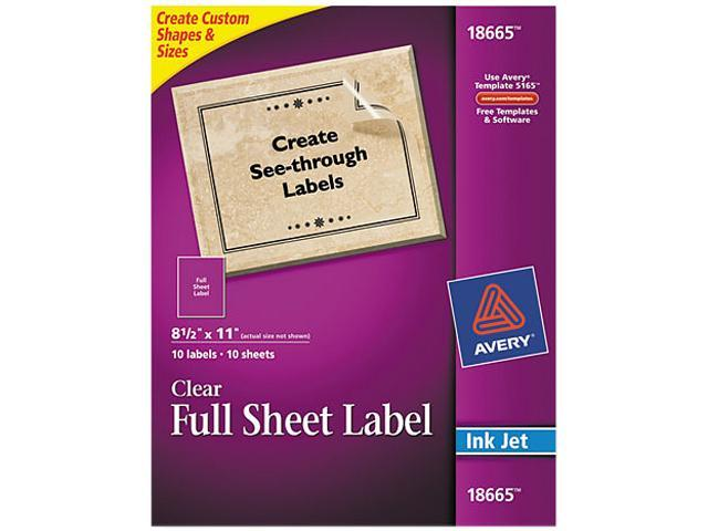 Avery 18665 Easy Peel Mailing Labels For Inkjet Printers 8 12 X 11