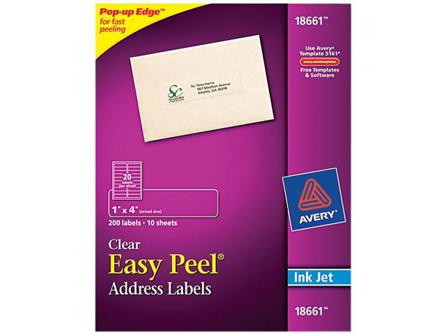 avery 18661 easy peel mailing labels for inkjet printers 1 x 4