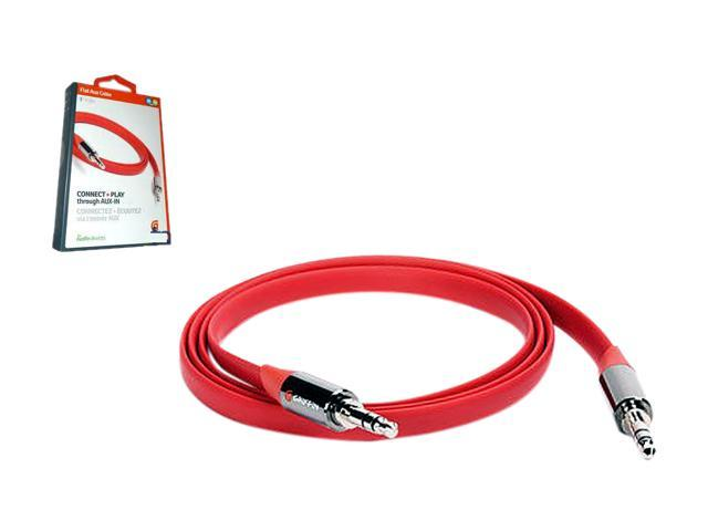GRIFFIN GC17118 3 ft. Aux. Audio Flat Cable (Red) Male to Male