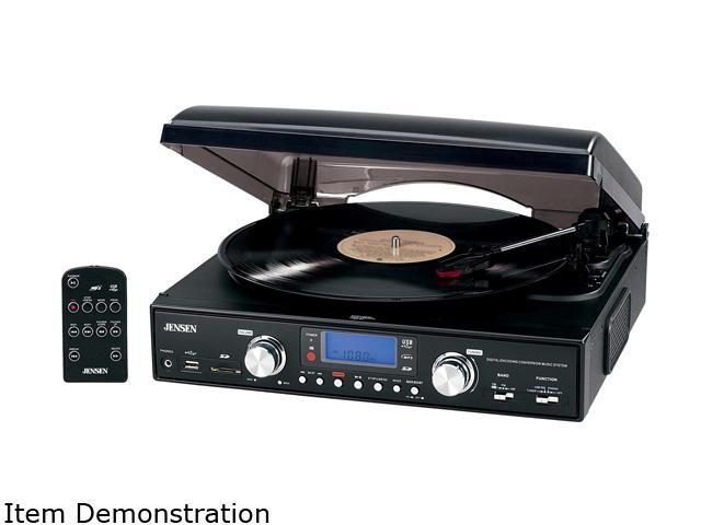 Jensen JTA-220 3Speed Stereo Turntable w// Built-In Speakers /& AM//FM Stereo Radio