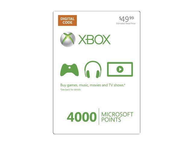 Microsoft Xbox LIVE 4000 Microsoft Points (Digital Code) - Newegg com