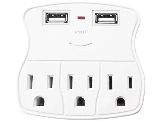 inland 03238 white wall tap surge protector with 2 usb