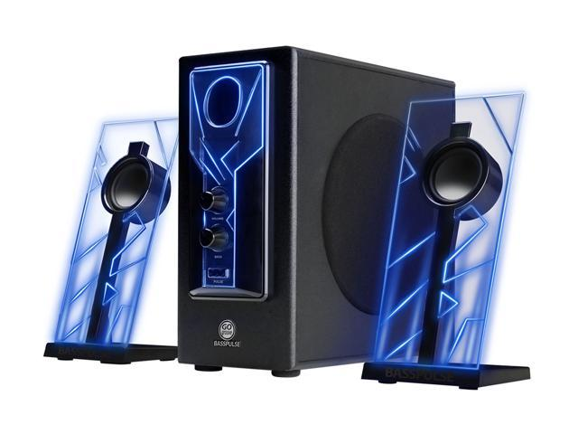 GOgroove BassPULSE 2 1 Computer Speakers with Red LED Glow Lights and  Powered Subwoofer - Gaming Speaker System for Music on Desktop, Laptop, PC  with