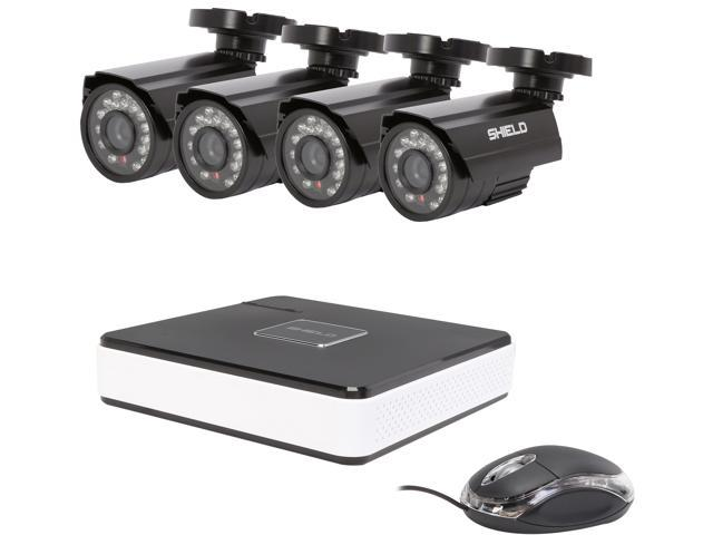 SHIELD Series RSCM-0704B042 - 4-Channel, H 264-Level DVR Surveillance Kit +  Four 700TVL Cameras - Night Vision Up to 65 Feet, Remote Viewing Supported