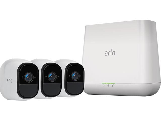 Arlo Pro Smart Security System 3 Wire-Free HD Camera with Siren, Audio | Indoor / Outdoor | Night Vision Rechargeable Battery Powered, Free Arlo Basic 7-Day Cloud Storage Recording- VMS4330-100NAS