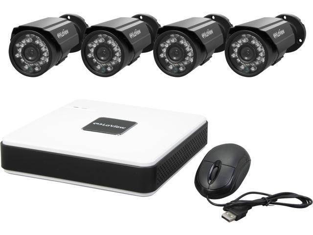 LaView LV-KD5144B 4 Channel Complete 4 CH D1 Compact Security DVR Cloud  System w/ Easy DIY Two 600TVL Infrared Surveillance Came - Newegg com
