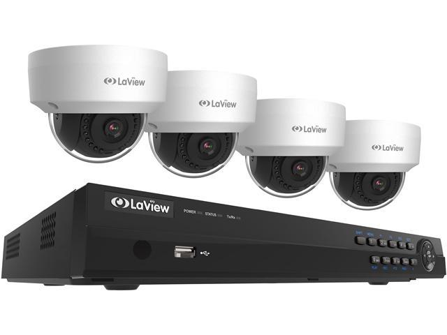 LaView LV-KNT982D22D4 4MP Zoom HD 8 Channel NVR PoE IP Security System,  with 2pcs 4MP (2688 x 1520p) and 2pcs 2MP (1920 x 1080p) Dome Camera (No  HDD